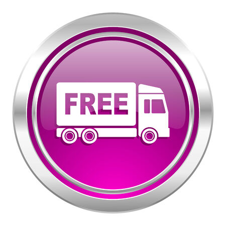 complimentary: free delivery violet icon transport sign Stock Photo