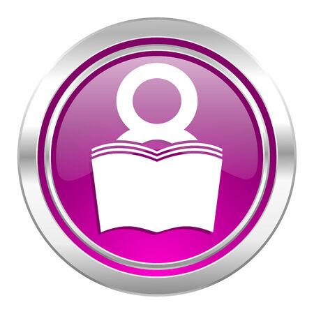 reading room: book violet icon reading room sign bookshop symbol