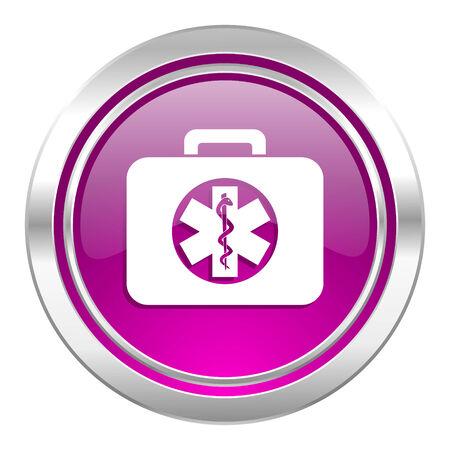 emergency kit: rescue kit violet icon emergency sign