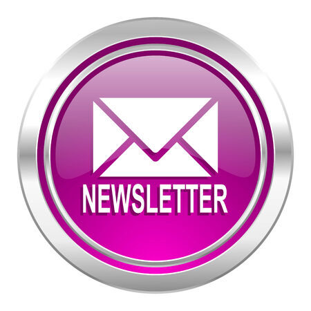 e new: newsletter violet icon Stock Photo
