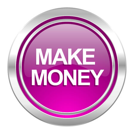 make money: make money violet icon Stock Photo