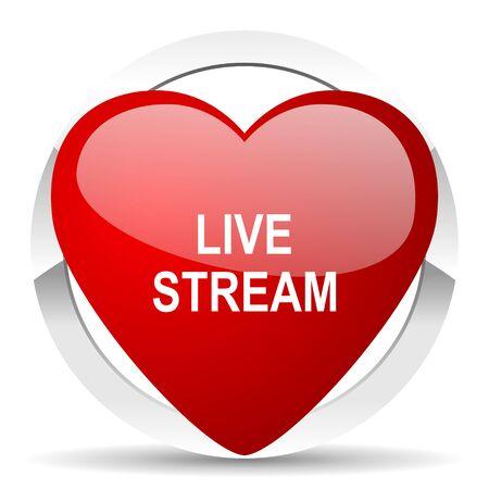 live stream: live stream valentine icon Stock Photo
