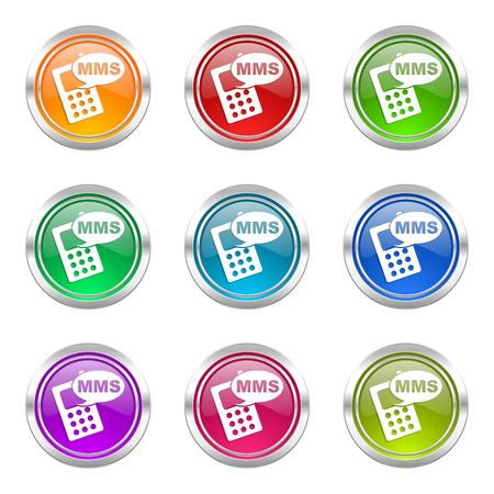 mms: mms icons set phone sign