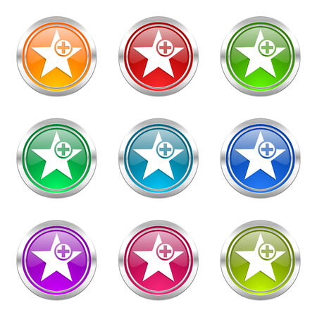 favourite: star icons set add favourite sign Stock Photo