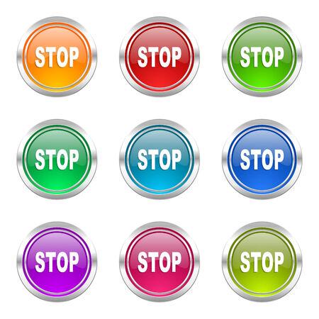 proscribed: stop icons set Stock Photo