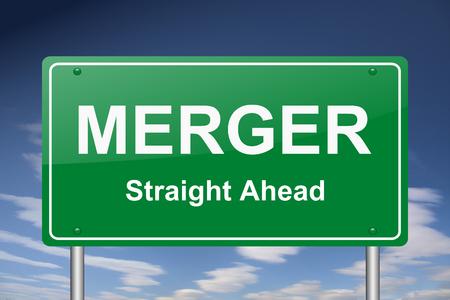 merger: merger sign Stock Photo