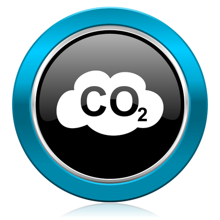 carbon dioxide: carbon dioxide glossy icon co2 sign Stock Photo