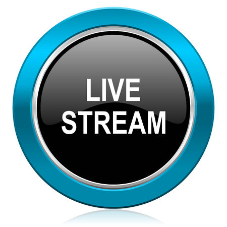livestream: live stream glossy icon Stock Photo