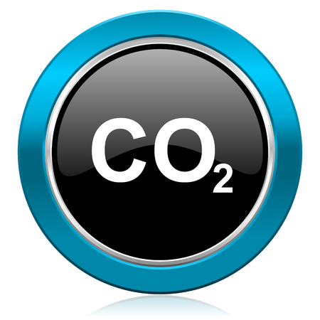 co2: carbon dioxide glossy icon co2 sign Stock Photo