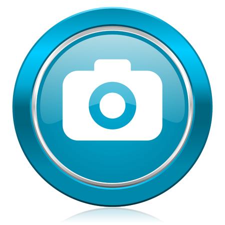 picto: photo camera blue icon photography sign Stock Photo