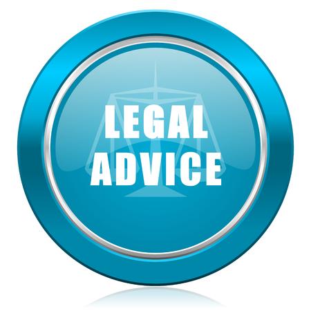 asesoria legal: asesoramiento jur�dico icono azul signo ley