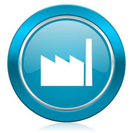 industrialist: factory blue icon industry sign manufacture symbol