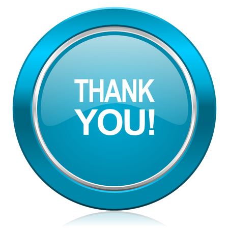 blue you: thank you blue icon Stock Photo