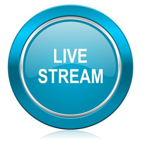 live stream sign: live stream blue icon