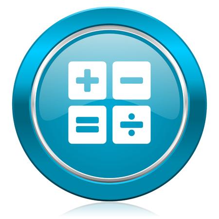 calc: calculator blue icon calc sign
