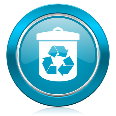 recycling sign: recycle blue icon recycling sign Stock Photo