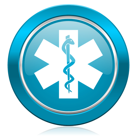 hospital sign: emergency blue icon hospital sign
