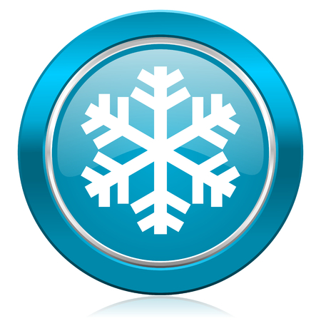 snow blue icon air conditioning sign photo