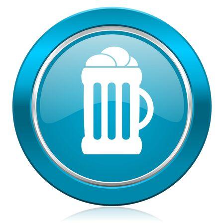 beer blue icon mug sign photo