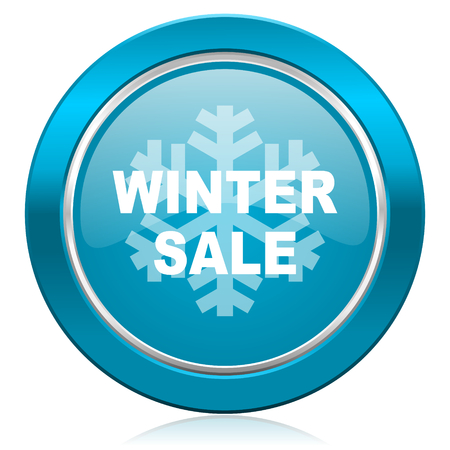 winter sale blue icon photo