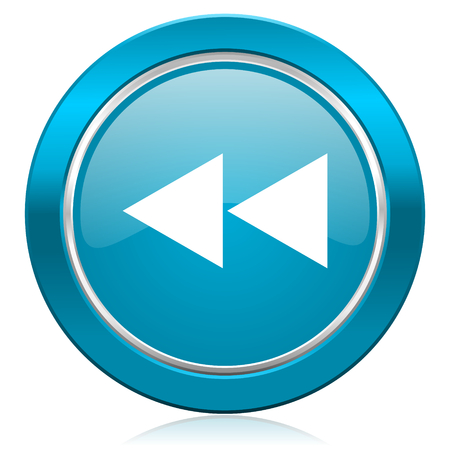 rewind: rewind blue icon Stock Photo