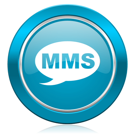 mms: mms blue icon message sign Stock Photo