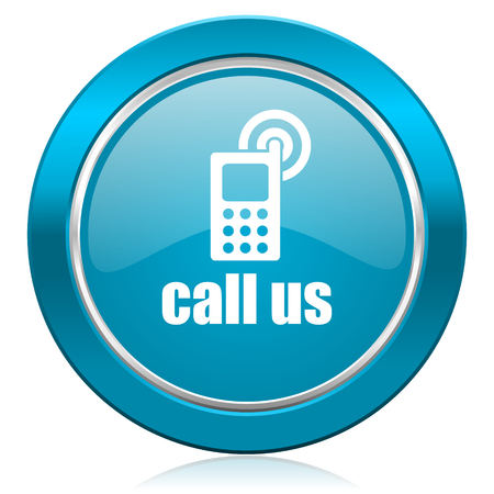 call us blue icon phone sign photo