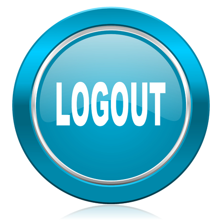 logout blue icon Stock Photo