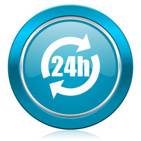 24h: 24h blue icon Stock Photo