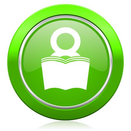 fresh graduate: book icon reading room sign bookshop symbol Stock Photo