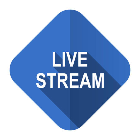 live stream sign: live stream flat icon Stock Photo