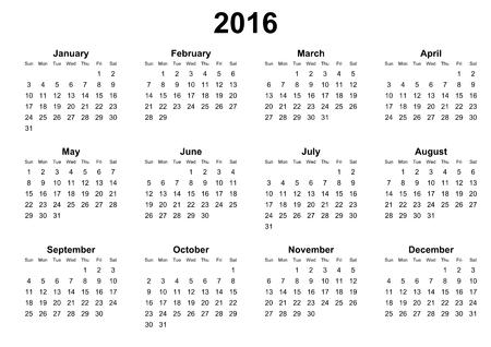 eenvoudige kalender 2016 zondag eerst Stockfoto