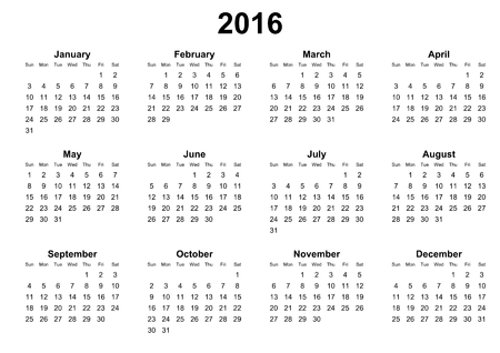 sundays: simple calendar 2016 sunday first Stock Photo