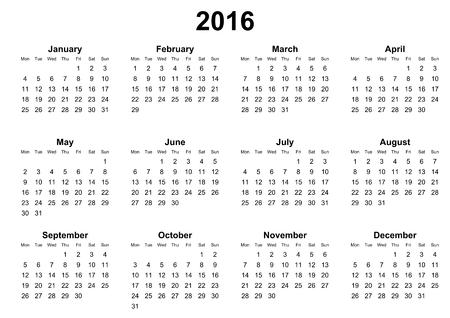 agenda year planner: simple calendar 2016 monday first