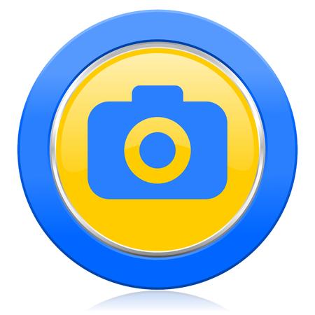 picto: photo camera blue yellow icon photography sign Stock Photo