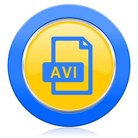 avi: avi file blue yellow icon Stock Photo