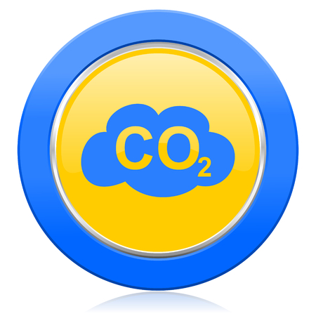 co2: carbon dioxide blue yellow icon co2 sign