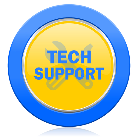 technical support: technical support blue yellow icon Stock Photo