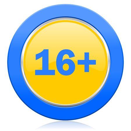 adults: adults blue yellow icon Stock Photo