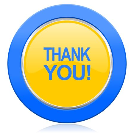 blue you: thank you blue yellow icon
