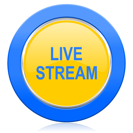 news cast: live stream blue yellow icon