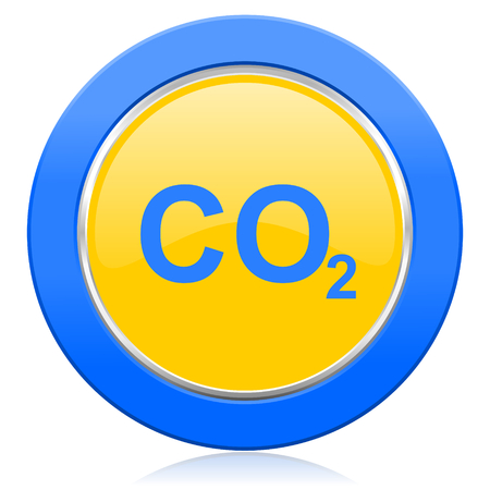 dioxide: carbon dioxide blue yellow icon co2 sign