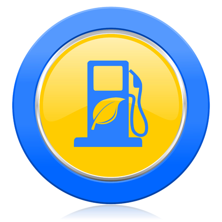 bio fuel: biofuel blue yellow icon bio fuel sign Stock Photo