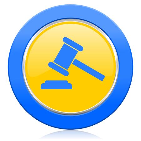 verdict: auction blue yellow icon court sign verdict symbol