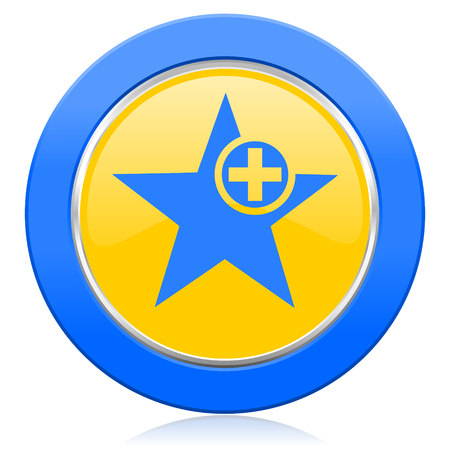 favourite: star blue yellow icon add favourite sign