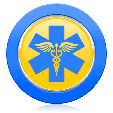 medical sign: emergency blue yellow icon hospital sign Stock Photo
