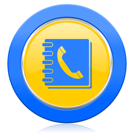 phonebook: phonebook blue yellow icon