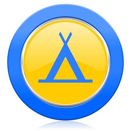 camp blue yellow icon photo