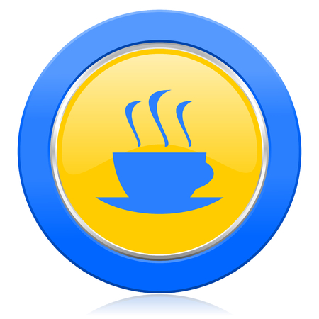 caffee: espresso blue yellow icon hot cup of caffee sign