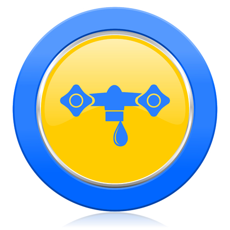 hydraulics: water blue yellow icon hydraulics sign